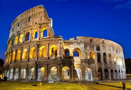 Ancient roman colosseum at dusk, Rome, Italy Stock Photo