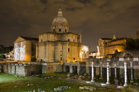 Santi Luca e Martina church and Roman Forum at night