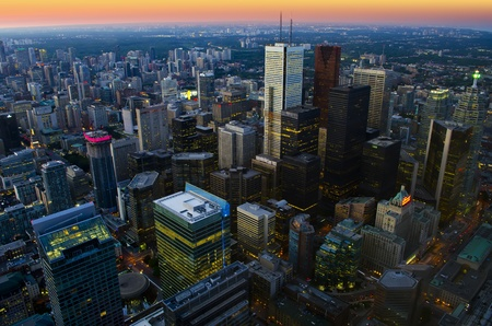 toronto: Toronto cityscape at dusk - aerial view Stock Photo