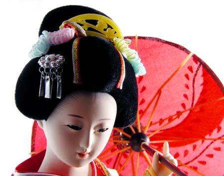 Geisha doll with umbrella portrait photo
