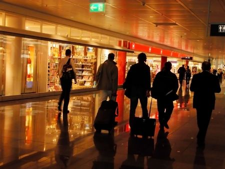 Group of business people in an airport. Stock Photo