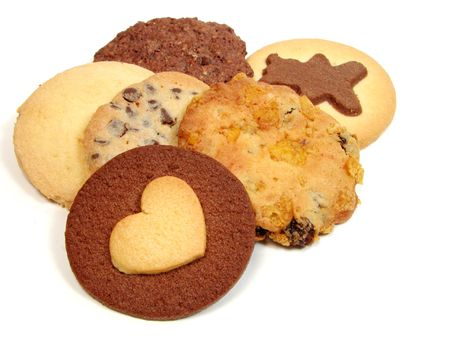 cranky: Different types of biscuits over white background Stock Photo