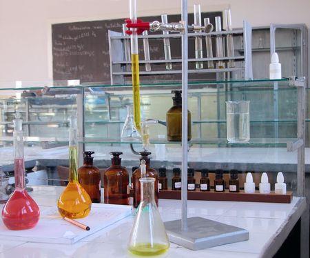 burette:   Old chemistry laboratory desk Stock Photo