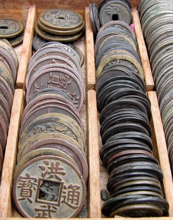 numismatic:   Some old Japanese coins in a wooden box