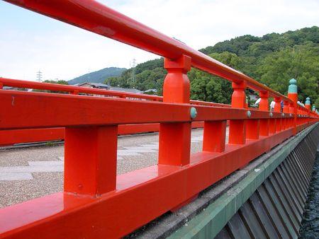 japanese bridge:  A traditional wooden Japanese bridge Stock Photo