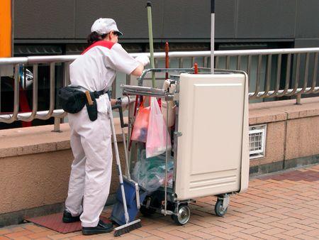 Celaning worker in a city