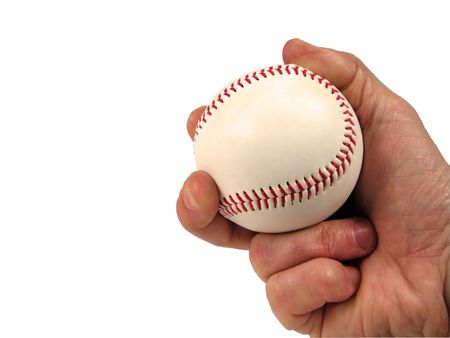 shortstop: Baseball ball in hand-over white with clipping path           Stock Photo