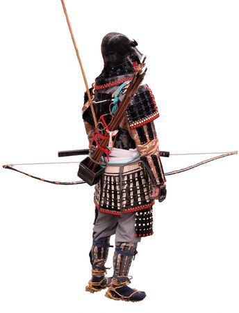samoerai: Japanse Bowman draagt traditionele kleding oorlog isolatie over witte achtergrond Stockfoto