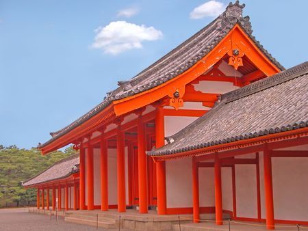 Image of one of the Kyoto Imperial Palace wooden orange gates Stock Photo