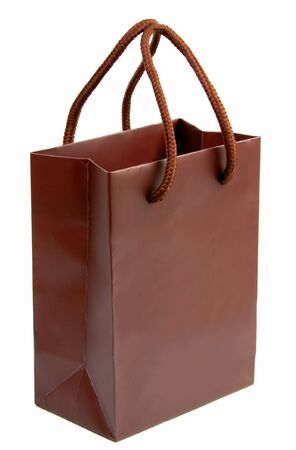 Brown (chocolate color) shopping bag isolated over white background.