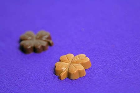 Two piece of clover shape chocolates on a violet soft background.Extremely selective focus on a light borwn piece. Stock Photo - 759380