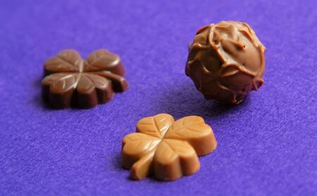 Fancy chocolates on a violet velvet background Stock Photo - 759350