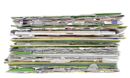 Image of a stack of careless opened envelopes with bills over white background photo