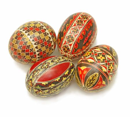 Beautiful Romanian Easter painted eggs over white background