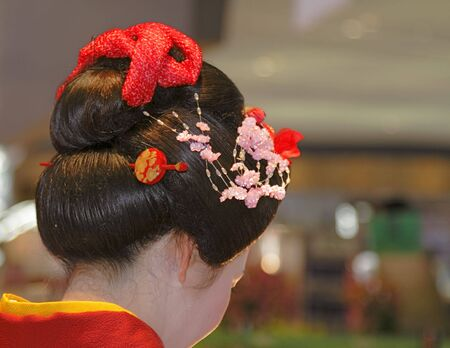 Detail of a geisha head during a Japanese traditional music show. Stock Photo