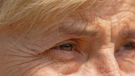 wrinkled brow: Close-up image of a senior woman eye.