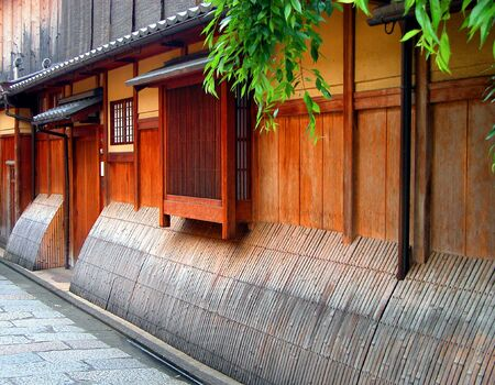 Detail image of a very specific wooden house in Gion,geisha ward in Kyoto,Japan.           photo