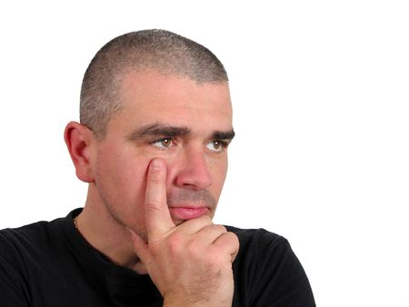Man thinking deeply over white background           Stock Photo - 1164962