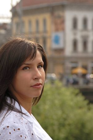 Portrait of a woman in a traditional European city. Stock Photo - 1397568