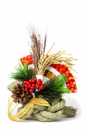 Image of a traditional Japanese New Year decoration over white background photo