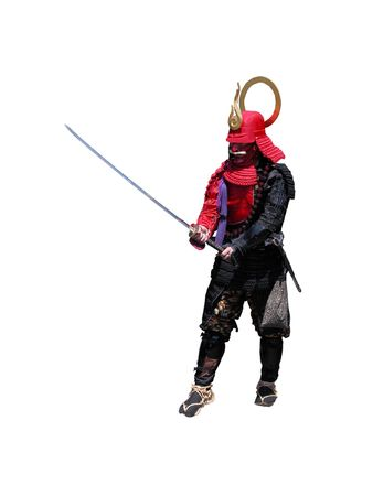 Samurai with sword-fighting position,isolated over white background           photo