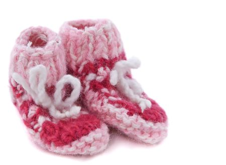 Knitted  footwear isolated over white background. photo