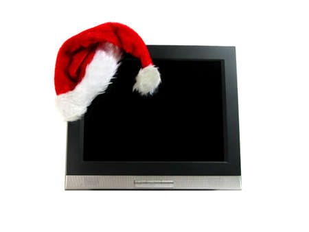 santaclause: Santas hat on a computer screen isolation over white background
