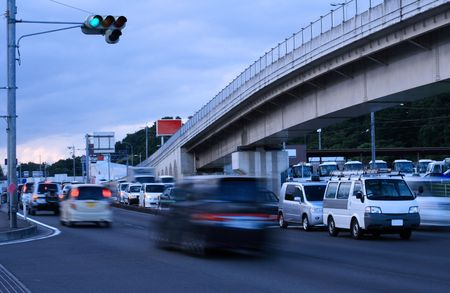 aspect: Traffic motion blured aspect in the dusk           Stock Photo