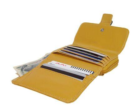 yen note: Open wallet with few bills(yen) and cards