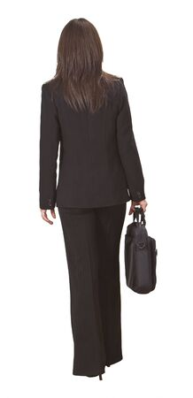Back of a businesswoman with a laptop bag against a white background. photo