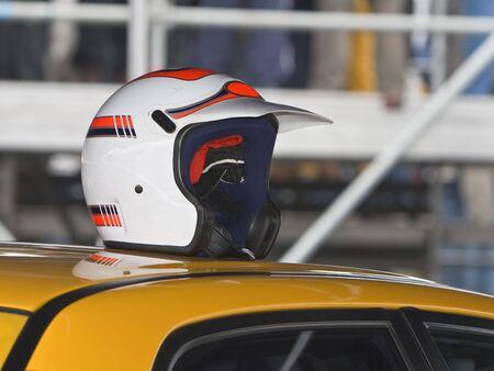 A helmet of a driver on a race car Stock Photo - 2819087