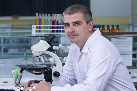 Portrait of a researcher at his workplace. Stock Photo - 3169626