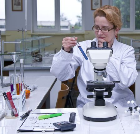 Female researcher looking at a test tube containing a solution, at her workplace in a laboratory.All the inscriptions are mine. Stock Photo - 3471437
