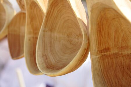 craftsmanship: Close-up image of some wooden spoons, a traditional Romanian craftsmanship product.