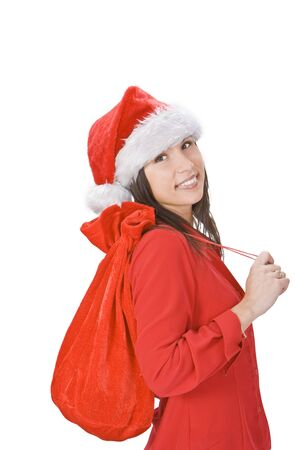 gril: Beautiful Christmas girl with gifts sack against a white background.