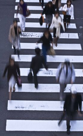 woman street: Group of people crossing the street-upper view
