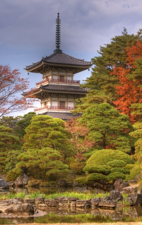Autumn image of the garden and Pagoda from Rinoji temple,Sendai,Japan.(HDR image) photo