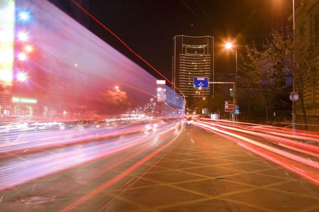 blured: Interesting blured image of night traffic in a big city.Location:Bucharest,Romania. Stock Photo