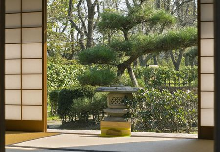 Japanese garden seen through a traditional sliding wall of a wooden house. photo