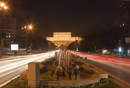 Night traffic in front of the the House of Parliament,Bucharest,Romania. Stock Photo - 3869329