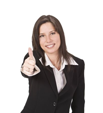 Confident businesswoman with thumb up isolated against the white background.Selective focus on the face. Stock Photo - 3904735