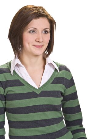 nonchalant: Portrait of a young woman smiling.