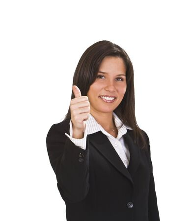endorsement: Happy brunette  businesswoman with thumb up isolated against a white background. Stock Photo