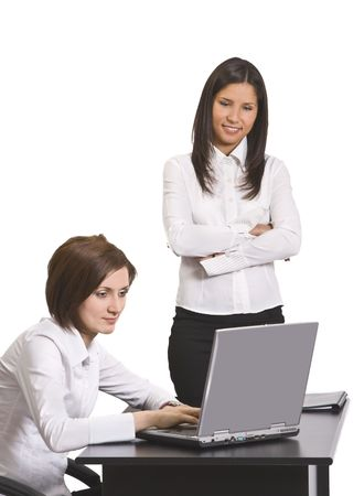 expertize: Two businesswomen working together on a computer. Stock Photo