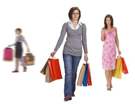Image of active women shopping against a white background. photo