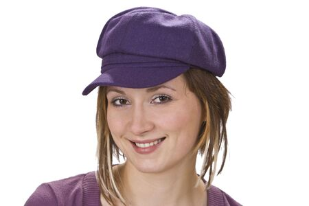 nonchalant: Portrait of a young woma with a violet hat.
