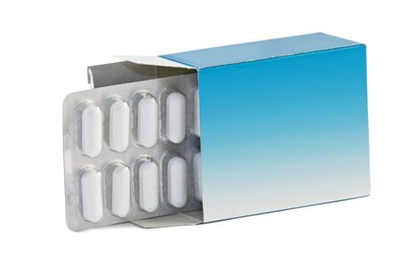 Image of a pills blister getting out form the box over white background photo