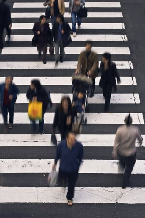 haste: Group of people crossing the street-upper view
