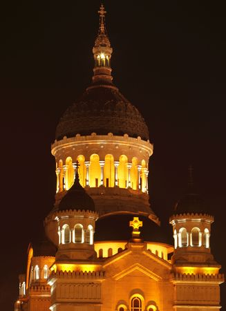 Night detail of the dome of the Orthodox Cathedral (The Dormition of the Theotokos Cathedral) in Cluj Napoca,Romania.It is an example of the Romanian Brancovenesc architectural style combined with byzantine architecture. 写真素材