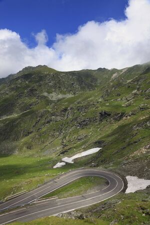 hairpin: Hairpin bend on a road at high altitude.Location:Transfagarasan road,Romania. Stock Photo